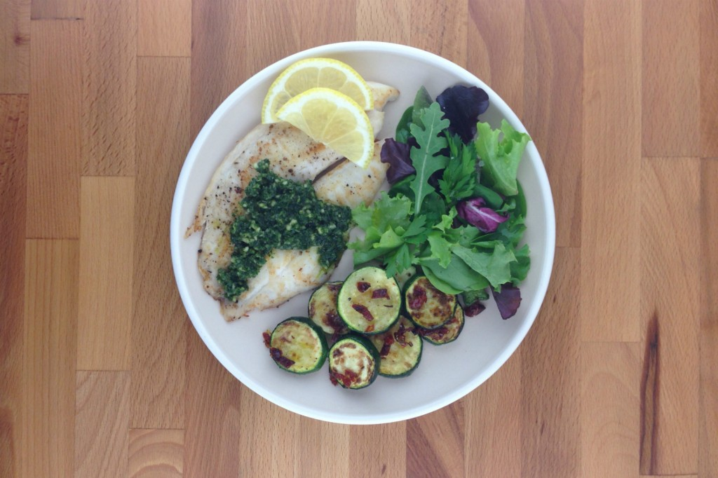 tilapia with parsley pesto / roasted zucchini with sun-dried tomatoes ...
